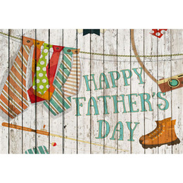 backdrop computer painted scenic background Canada - White Painted Wood Wall Happy Father's Day Background for Photo Studio Colorful Neckties Boots Dad Party Photography Backdrops