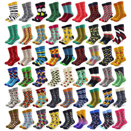 Discount crazy socks - 20 Pairs lot Creative Men's Colorful Striped Cartoon Combed Cotton Happy Socks Crew Wedding Gift Casual Crazy Funny