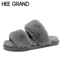 Chinese  HEE GRAND Women Winter Indoor Slippers Causal Shoes Slip on with Faux Fur for Ladies Warm Slippers Women's Shoes XWT1012 manufacturers
