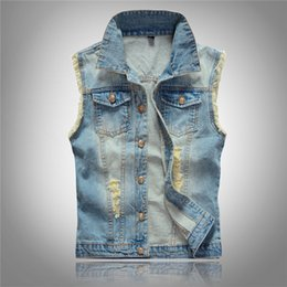 Discount slim style army jackets - Korean Men's Jeans Vest Ripped Denim Jacket Slim Fit Sleeveless Summer New Style Jeans Male Coat 6XL