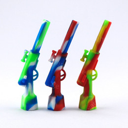 gun water bong NZ - Gun design 4.33 inch silicone water pipe meatl accessories portable hand rifle pipe cigarette filter bong discount price free shippping