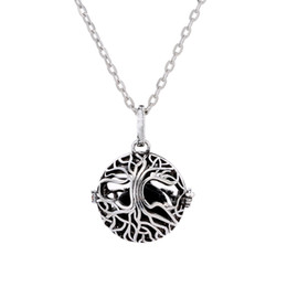 Gold caGe charm online shopping - New Tree of Life Cage Pendant Lava rock Aromatherapy Essential Oil Diffuser Necklace Hollow Out Ball Necklaces Women Fine Jewelry