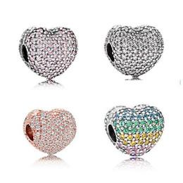 20PCS Alloy Full Crystal Heart Beads Charms For Pandora DIY Jewelry European Bracelets Bangles Women Girls Best Gifts B018 on Sale