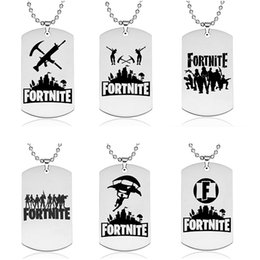Wholesale Fortnite Pendant Necklace Kids Jewerly Stainless Steel Dog Tag Hot Game Fans Souvenir Children Gift FORTNITE Keychains