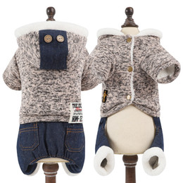 Clothes For Chihuahua Dogs Canada - New Winter Pet Dog Clothes For Small Dogs Thickened Warm Chihuahua Fleece Dog Jumpsuit Knitted Tops Demin Pants Rompers
