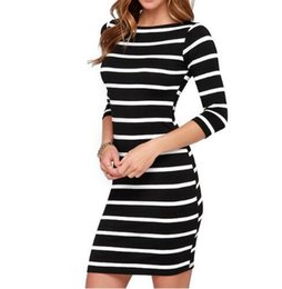 $enCountryForm.capitalKeyWord Canada - New Spring Summer Women Round Neck Fashion Black and White Striped Long Sleeve Straight Plus Size Casual Dress