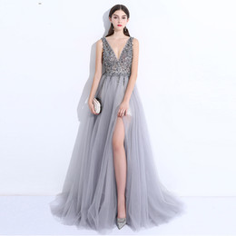 $enCountryForm.capitalKeyWord UK - 2018 Sexy silver split prom dresses Luxurious crystals beaded deep V neck backless cape sleeves formal evening party gowns wear 3138