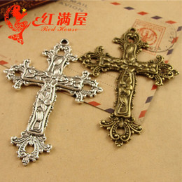 $enCountryForm.capitalKeyWord Canada - A3230 74*52MM Can open Zinc alloy electroplating bronze Pattern Cross cruicifix charms metal pendant ancient silver jewelry accessories DIY