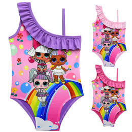 Girl doll suit online shopping - New Cartoon Surprise dolls Swimsuit Baby Girls Summer Printed Ruffle Cartoon Kids Swimwear Children One Piece Beach Bathing Suits Z11