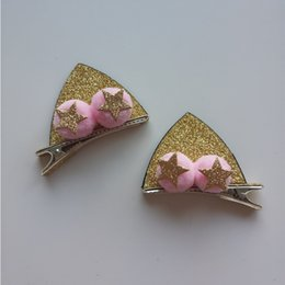 cute cat ears hair clip NZ - 2 PCS Cute Three-dimensional Sequin Cat Ears Girls Hair Accessories Kids Hairpins Children Headwear Baby Hair Clips Headdress