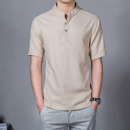 995e67a497db 2018 Summer New Men Shirt Fashion Chinese style Linen Slim Fit Casual Short Sleeves  Shirt Camisa Social Business Dress Shirts