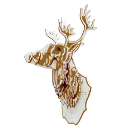 part animals Australia - Nulong Laser Cutting 3D Wooden Puzzle 3D wood Jigsaw Puzzle Woodcraft Assembly Kit - Deer Head with 19pcs Parts