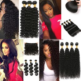 Discount black hair perm curly - Grade 8A Deep Wave Brazilian Hair Bundles Wet and Wavy Virgin Human Hair Curly Weave Natural Black Brazilian Virgin Hair