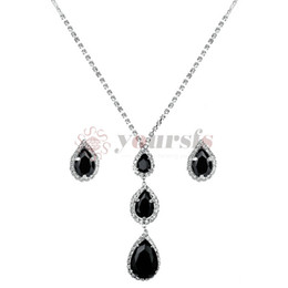 black jewelry set studs NZ - Yoursfs Wedding Jewelry Set Black Teardrop Halo Bridal Pendant Necklace Stud Earrings Set
