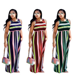 $enCountryForm.capitalKeyWord Australia - 2018 Summer Striped Beach Holiday Women Dresses 3 Colors In Stock O Neck Sleeveless A line Women Casual Dress Floor Length Real Pictures