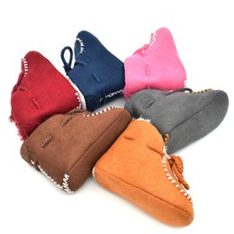 Handmade suede sHoes online shopping - Baby Thickening Cotton padded Shoes Infant Snow Boots Suede PU Material Fur Lining Lace up Handmade Boys Girls Antiskid Keep Warm M