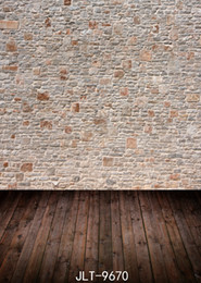 background backdrop floor NZ - Light Brown Brick Wall Wooden Floor Wedding Children Vinyl Photography Backdrop Custom Photo Prop Backgrounds 5X7ft