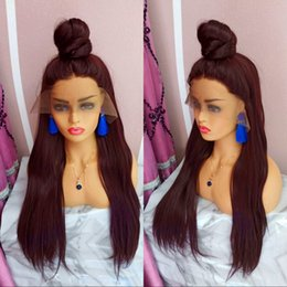 Brown Straight Wig Part Australia - Yaki straight synthetic hair lace front wig free part cheap wigs for black women perucas baby hair black  brown burgundy blonde stock