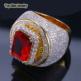 Band ruBies ring online shopping - High Quality Real Copper Rings Shiny Micro Diamond Ruby Red Gemstone Punk Finger Jewelry For Men Hip Hop Rock Accessories bijoux Size