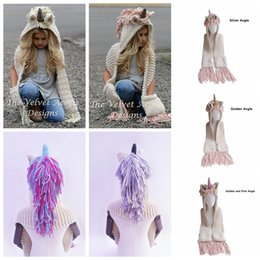 7114cbeabe1 AMUSE 2 in 1 unicorn scarf cap Kids Infant Llama Warm Knitted Hats Children  cartoon warmer Winter crochet Hat 7Colors AAA1321