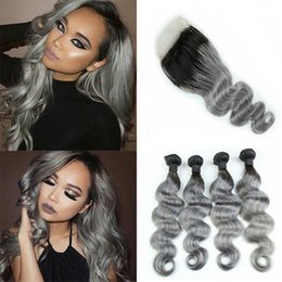 gray black hair extensions 2019 - Black to Gray Ombre Body Wave Hair Weave 4 Bundles with Lace Closure 5Pcs Lot 2 Tone 1B Grey Ombre Hair Extensions cheap