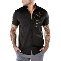7ea1f0fed7e Mens Ripped Solid Short Sleeve Leisure Tshirt Top Shirt