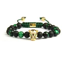 MacraMe aniMal online shopping - Men Panther Cz Bracelets mm Natural Matte Agate Green Tiger Eye Stone Leopard Macrame Jewelry