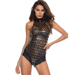 $enCountryForm.capitalKeyWord NZ - New Products Women Pole Dance Bodysuit Fashion Hollowed Out PU Leather Sexy Lingerie Hot Latex Clubwear WTB2050