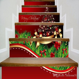 Wholesale star quotes online – design Merry Christmas Stairway Decals Quotes Gold Stars Balls Bowknots Xmas Tree Stairs Sticker Decoration Home PVC Art Murals for Staircase