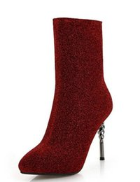 ladies chaussure women shiny glitter shoes woman zapatos mujer sapato  mid-calf boots thin high heels sexy pumps slip on XZ180236 7a753633158d
