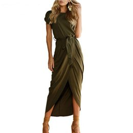 83f69dc49b6 2019 Sexy Summer Lady Outfit High Split Casual Long Maxi Dress Solid Women s  Retro Dresses With Belt Vestidos 6 Colors