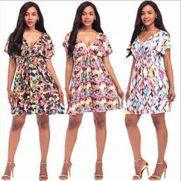 Discount white dress big floral print - M-4XL Plus Size Sexy V Neck Floral Print Boho Dress Women Big Size Vintage Beach Bohemian Midi Dress Summer