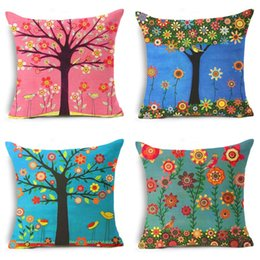 Wholesale jacquard paint for sale – custom Painting Tree Pillow Case Classic Flax Cushion Cover Sofa Bedroom Decor Fashion Retro Pillowslip High Grade zy Ww