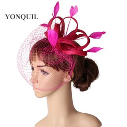 China High quality color sinamay fascinator headpiece bridal veils wedding headwear race hair accessories millinery church hat MYQ115 suppliers