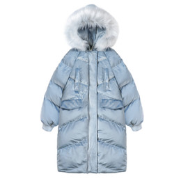 ingrosso parka femminile-OLGITUM New Fashion Women s Cotton Coat inverno Big Fur Jacket Long Women Parka donna cappotti giacche donna CC574