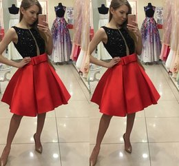 $enCountryForm.capitalKeyWord Canada - Latest Black Red Cocktail Dresses Short Jewel A Line Beaded Satin Knee Length Evening Gowns Formal Girls Special Occasion Homecmong Dresses