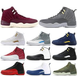 cheap sale athletic shoes 2019 - With box 2018 cheap 12 12s mens basketball shoes Michigan BQ3180-407 men Athletic shoe trainers sports sneakers size 7-1