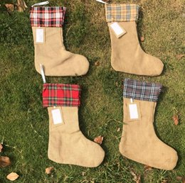 Wholesale Items Sold Australia - 50pcs lot hot selling Festival Items 4 colors Ready To Ship High Quality Happy Christmas Burlap Stockings SN2028