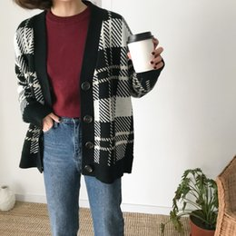 cardigan women sweaters harajuku korean style autumn clothes winter 2018  fashion retro plaid buttons trend knitted sweater women d9cbae80a