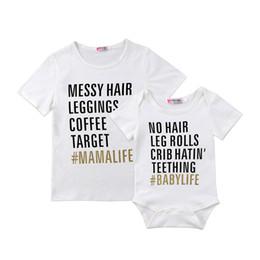 Vente en gros T-shirts de correspondance pour bébés et mamans Lettre Tops T-shirt nouveau-né barboteuse T-shirts T-shirt manches courtes