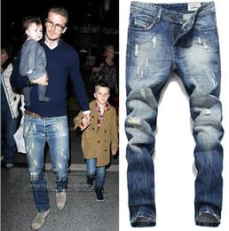 Men trousers size 36 black online shopping - Mens Fake Designer Clothing Jeans Ripped Straight Long Jeans Fashion Trousers Male Clothing Pants