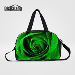 ladies soft canvas shoes Canada - Cool Rose Flower Printing Women Travel Duffle Bags With Shoes Pocket Ladies Stylish Duffel Luggage Bag For Teenage Girl Duffel Bag Wholesale