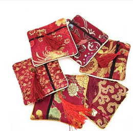 Wholesale 10pcs Tassel Cloth Bag Chinese Tradition Lucky bag Embroidery Jewels Organizer