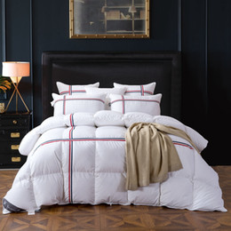 Discount down duvet king - TUTUBIRD Duck Goose Down Quilted Comforter Duvet Blanket White Striped Winter Warm Quilt with 100% Cotton Cover Twin Que
