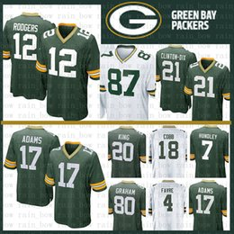 eba038651 Stitched 12 Aaron Rodgers Jersey Green Bays Packers 17 Davante Adams 23  Jaire Alexander Favre 52 Matthews 80 Graham 21 Ha Clinton-Dix King