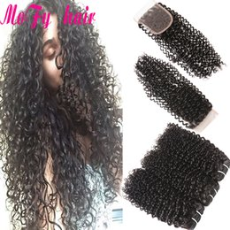 Kinky Closure Parts Australia - Malaysian Kinky Curly Human Hair 3 Bundles With Closure 4x4 Inch Free Middle 3 Part 130% Density Nonremy Brazilian Peruvian Indain Hair