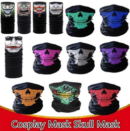 Skull head motorcycle online shopping - New styles Motorcycle bicycle outdoor sports Neck Face Cosplay Mask Skull Mask Full Face Head Hood Protector Bandanas Party Masks C012