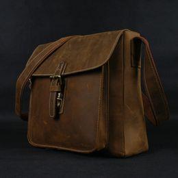 Men cowboy bag online shopping - Hot Vintage Genuine Leather Messenger Bags Men leather shoulder bag men Crossbody bag Sling Leisure cowboy style Brown Big