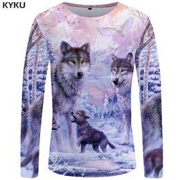Mens Long Sleeve Graphic T Shirts NZ - KYKU Wolf T shirt Men Long sleeve shirt Love Streetwear Snow Graphic Mountain Clothes Jungle 3d T-shirt Hip hop Mens Clothing