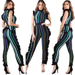 Blue Plus Size Jumpsuit Australia - Plus Size 3XL Striped Jumpsuit for Women 2018 Bodycon Rompers Ruffle Playsuit Tracksuit Sleeveless Bodysuits female dungarees